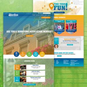 Aberdeen Downtown Association website pages on green