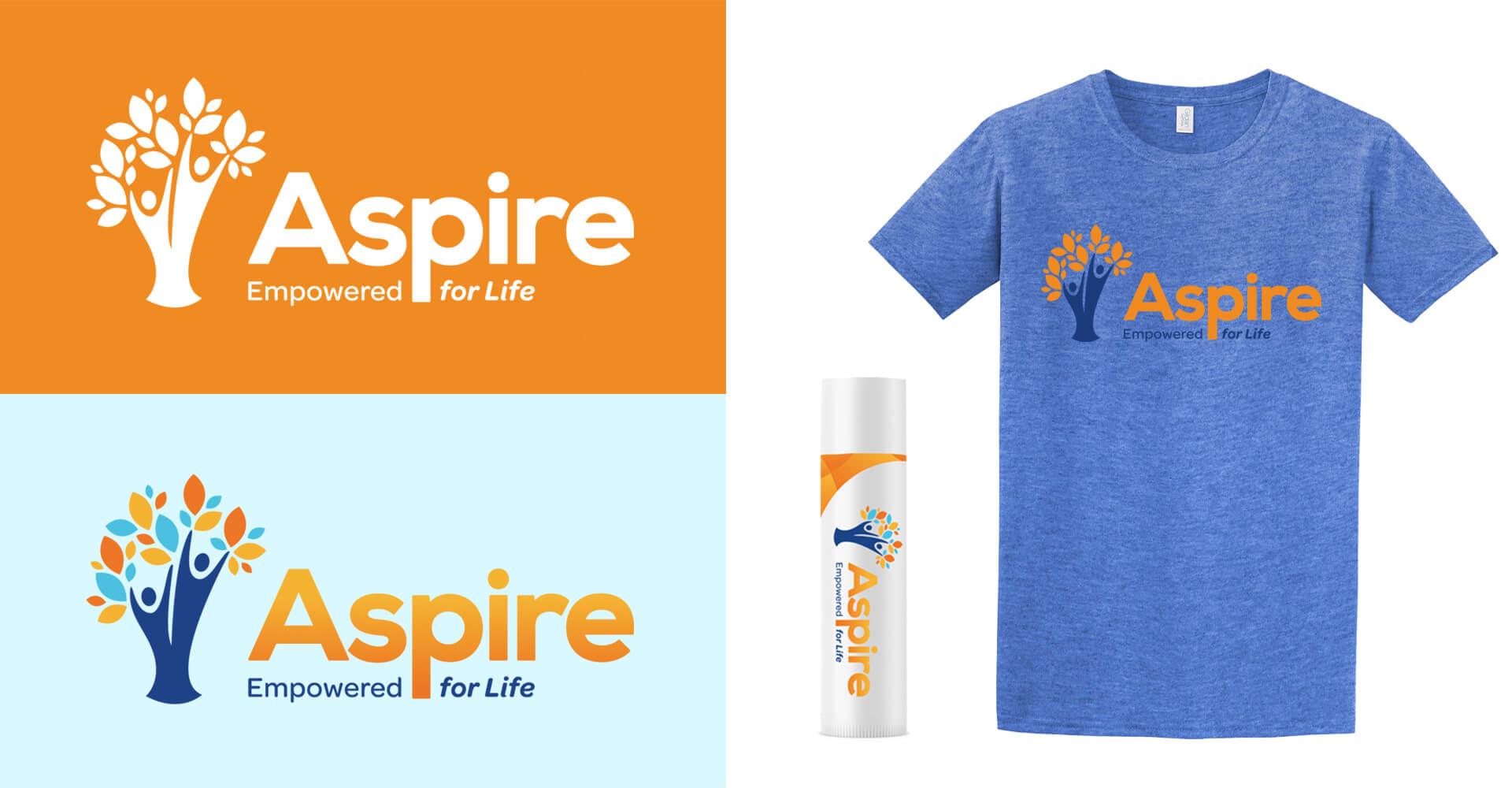 Aspire brand elements logo on orange and light blue t-shirt and lip balm