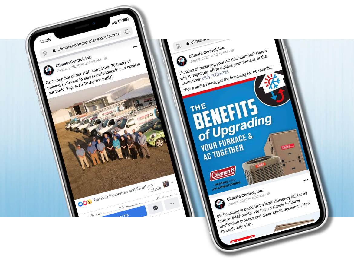Climate Control social media posts on mobile phones on blue background