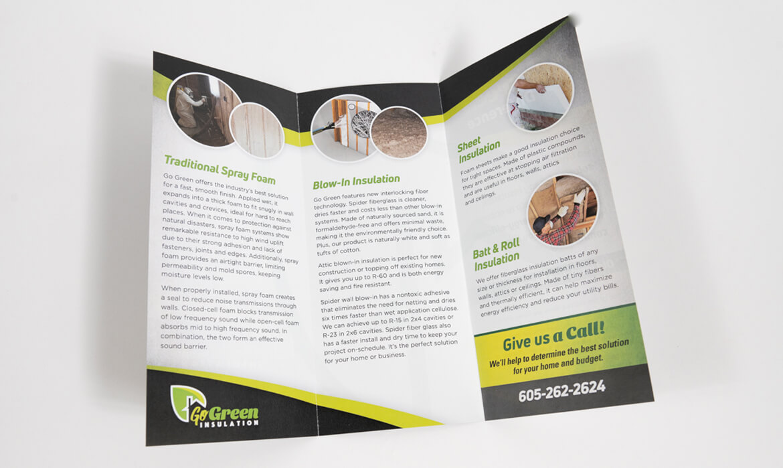 GoGreen Insulation trifold brochure inside