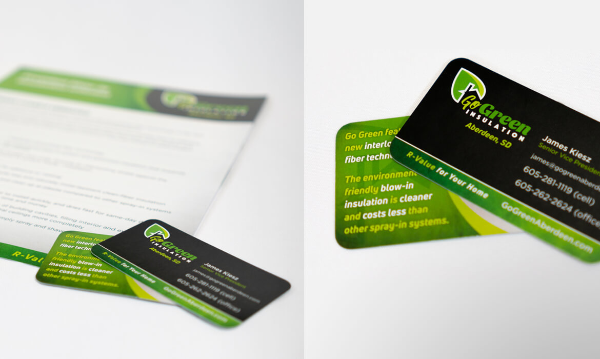 GoGreen Insulation letterhead and business card