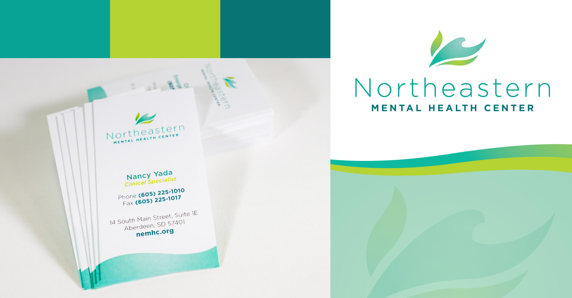 Northeastern Mental Health Center logo and brand and business cards