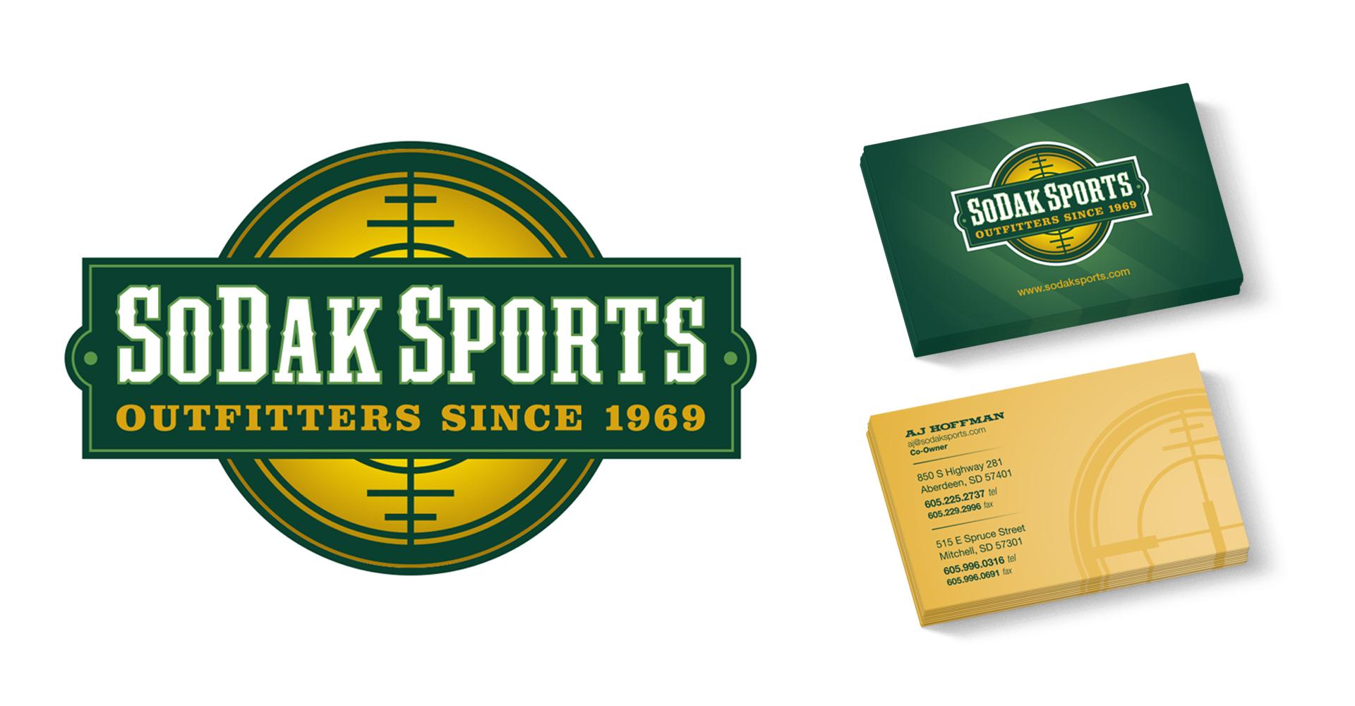 SoDak Sports logo and business card designs