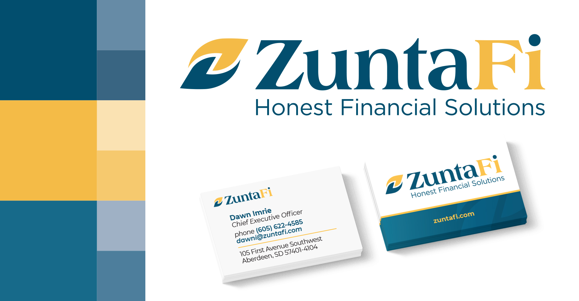 ZuntaFi logo with business cards and color scheme