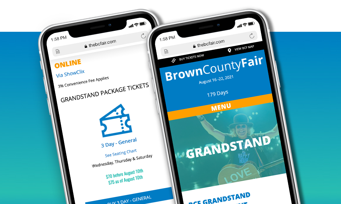 Brown County Fair website pages on mobile phones