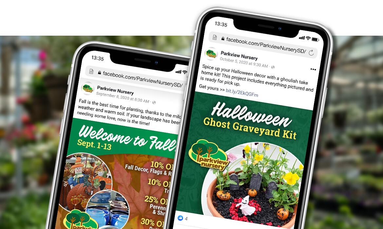 Parkview Nursery social media posts on mobile phones